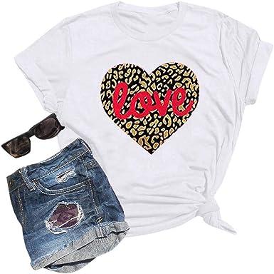 Warmword Camiseta de San Valentín para Mujer Camiseta de Manga Corta con Estampado de Leopardo Corazón Camisa roja mágica para Pareja Top Fashion Daily T-Shirt: Amazon.es: Ropa y accesorios
