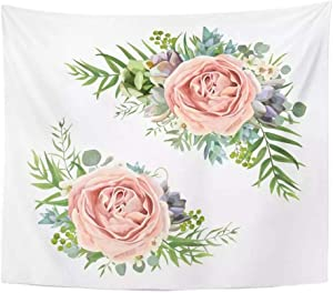Floral Bouquet Garden Pink Peach Lavender Rose Wax Flower Eucalyptus Branch Green Fern Palm Leaves Tapestry Home Decor Wall Hang 150x100cm /60*40inch