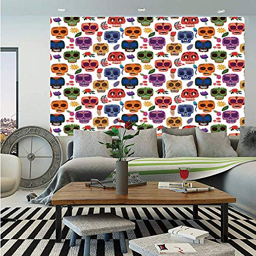 SoSung Day of The Dead Decor Huge Photo Wall Mural,African Tribal Wooden Scary Mask with Cartoon Funny Details Art Print,Self-Adhesive Large Wallpaper for Home Decor 108x152 inches,Multicolor