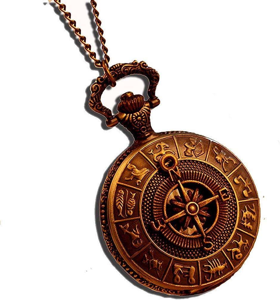 fenkoo Antigua Roma patrón brújula analógico de Cuarzo Vintage diseño de Mapa Antiguo Relojes de Bolsillo Reloj para Hombre 78cm Cadena Steampunk