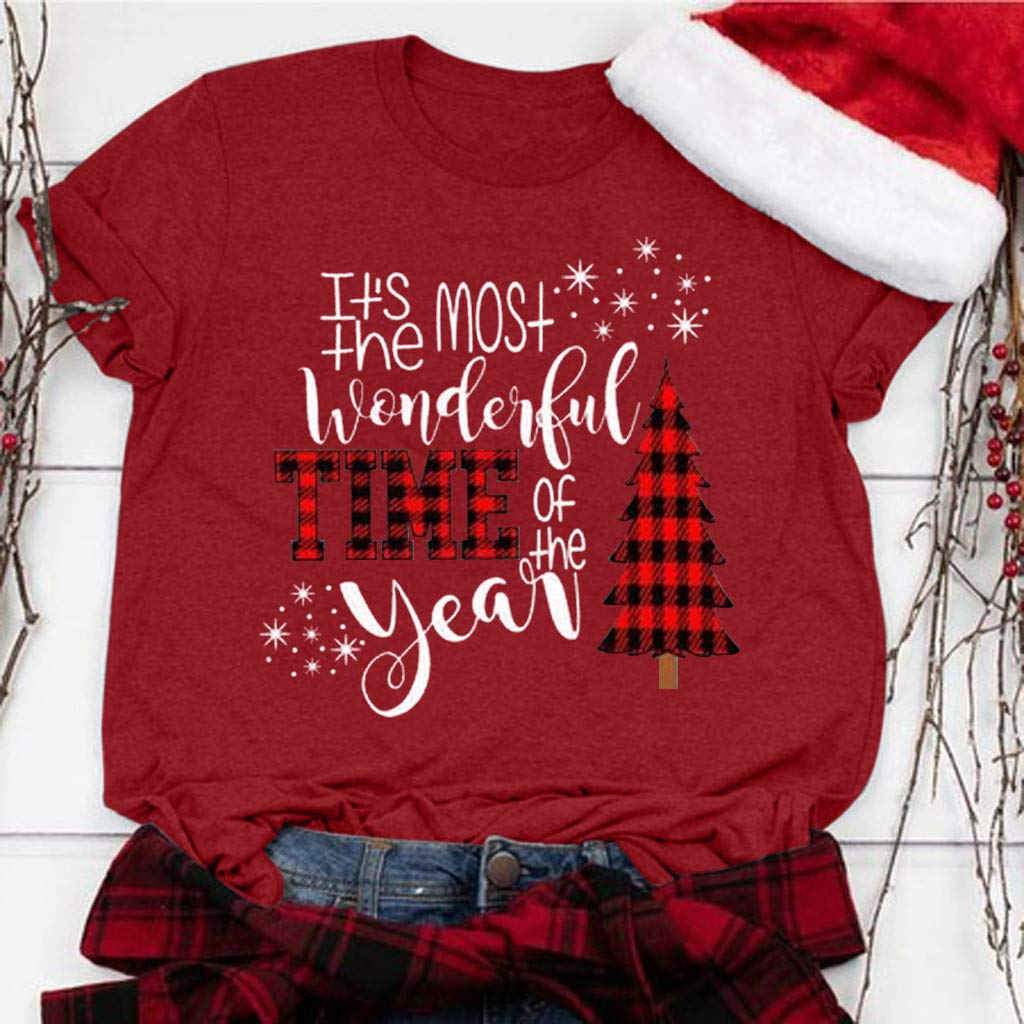 Oliviavan Its The Most Wonderful Time of The Year T Shirt Women Christmas Letters Print Casual Tees