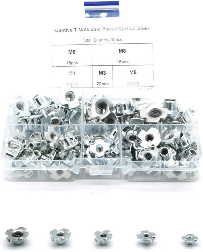 90pcs M3//M4//M5//M6//M8 Captive T Nuts Zinc Plated Carbon Steel Sorting kit with Storage Box