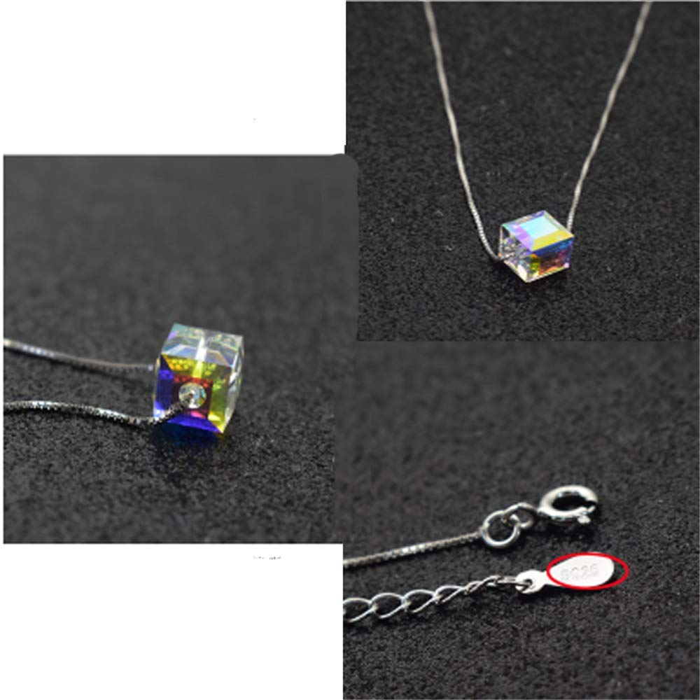 OSPRER Crystal Necklace Sugar Pendant Gold Plated Simple Necklace Jewelry Delicate Gift for Women Solid Silver Crystal Geometry Sugar Necklace Set Chain