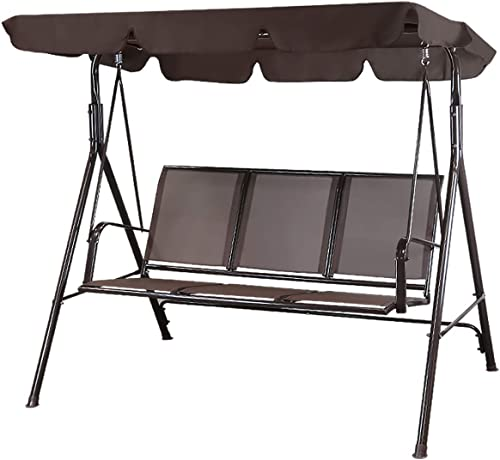Flex HQ Patio Porch Swing Chair Canopy Outdoor Lounge 3-Person Seat Hang Bench Hammock Brown