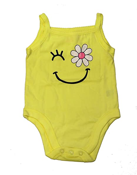 97b8038d524 Garanimals Bright Yellow Daisy Smiley Face Cami Camisole Spaghetti Strap  Tank Top Baby Creeper Bodysuit (