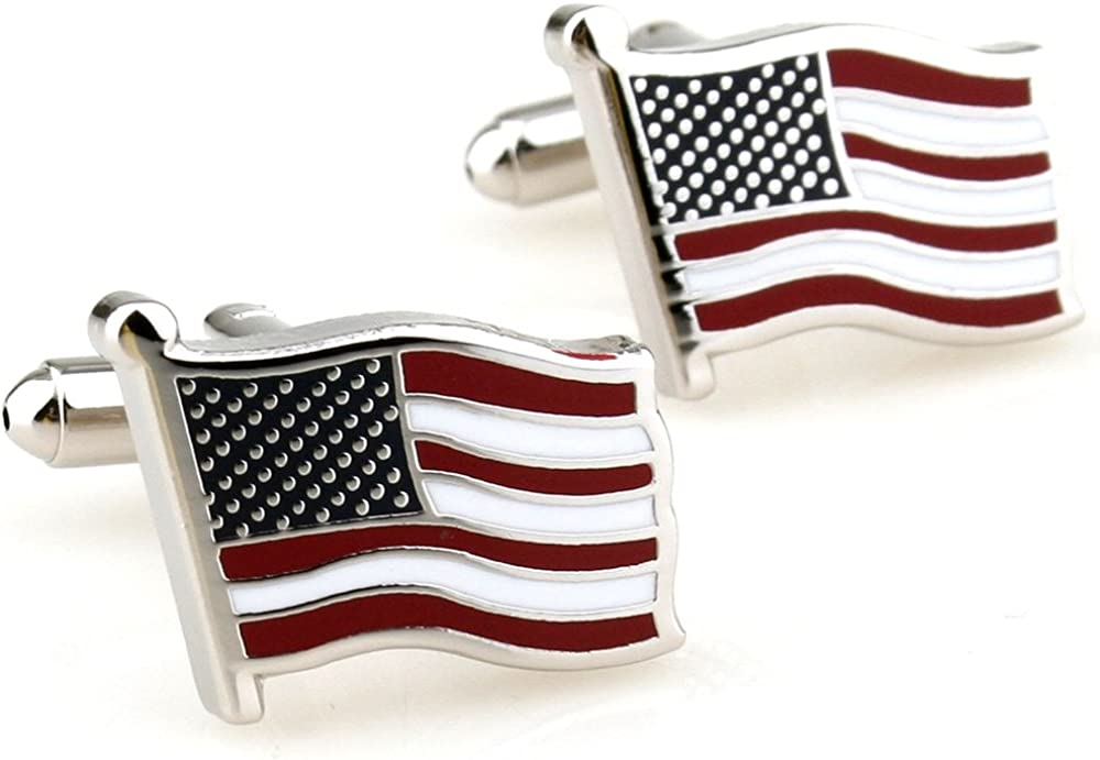 Covink Flying American National Flag Men's Office Cufflinks Cuff Buttons, Silver, One Pair