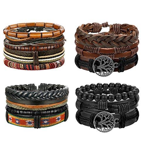 Thunaraz+4+Packs+Men+Leather+Bracelets+Hemp+Cords+Wood+Beads+Ethnic+Tribal+Bracelets+Leather+Wristbands+%28B%3A+4+Packs-2%29