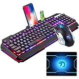 LexonTech 技術キーボードマウスコンボゲーマーホワイトLEDバックライトメタルプロゲーム用キーボード+ 2400DPI 6ボタンラップトップPC用マウス+マウスパッド(ブラック/ホワイト) (ブラック)