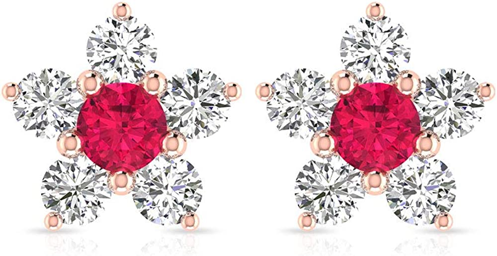 Pendientes de flor de moissanita de cristal de rubí con certificado IDCL de 0,76 ct, oro antiguo, piedra natal de julio, boda, boda, día de la madre, estrella, tornillo hacia atrás
