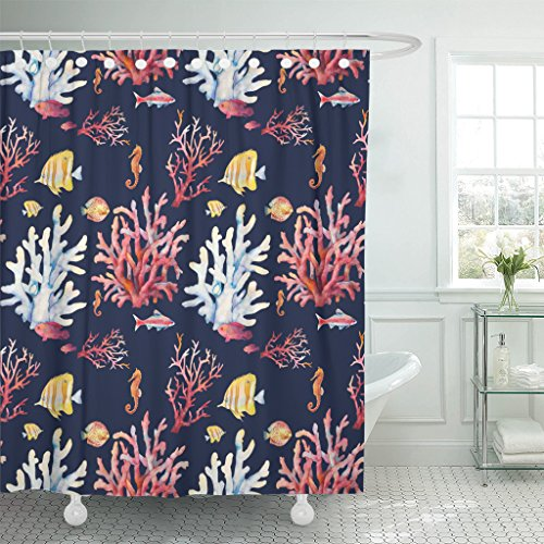ArtSocket TOMPOP Shower Curtain Watercolor Coral Reef Realistic Tropical Fishes Sea Horse Waterproof Polyester Fabric 72 x 72 Inches Set with -