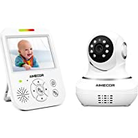 Video Baby Monitor with Camera - 3.5 inch IPS Display, HD Night Vision Camera, 960ft Transmission Range, Temperature Monitoring,Include Compatible Mount Shelf (Upgrade)