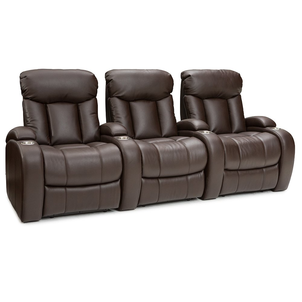 Seatcraft Sausalito Leather Home Theater Seating Chairs Power Recline - (Row of 3, Brown) by Seatcraft