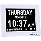 "5 Alarm Options - 8"" Digital Calendar Alarm Day Clock with Extra Large Non-Abbreviated Day & Month, Alzheimer's and Memory Loss Clock - Perfect for Mom Dad And Seniors,Reminders To Take Medications"