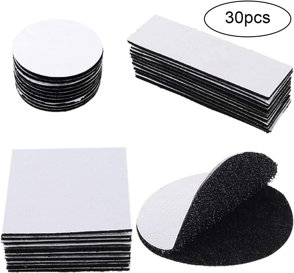 3 Sizes 1.2x4inch, 2.4x2.4inch and Round 2inch WXBOOM 30pcs Reclosable Self Adhesive Hook and Loop Tape Sticky Fastener Strips Interlocking Tape for Home and Office Black