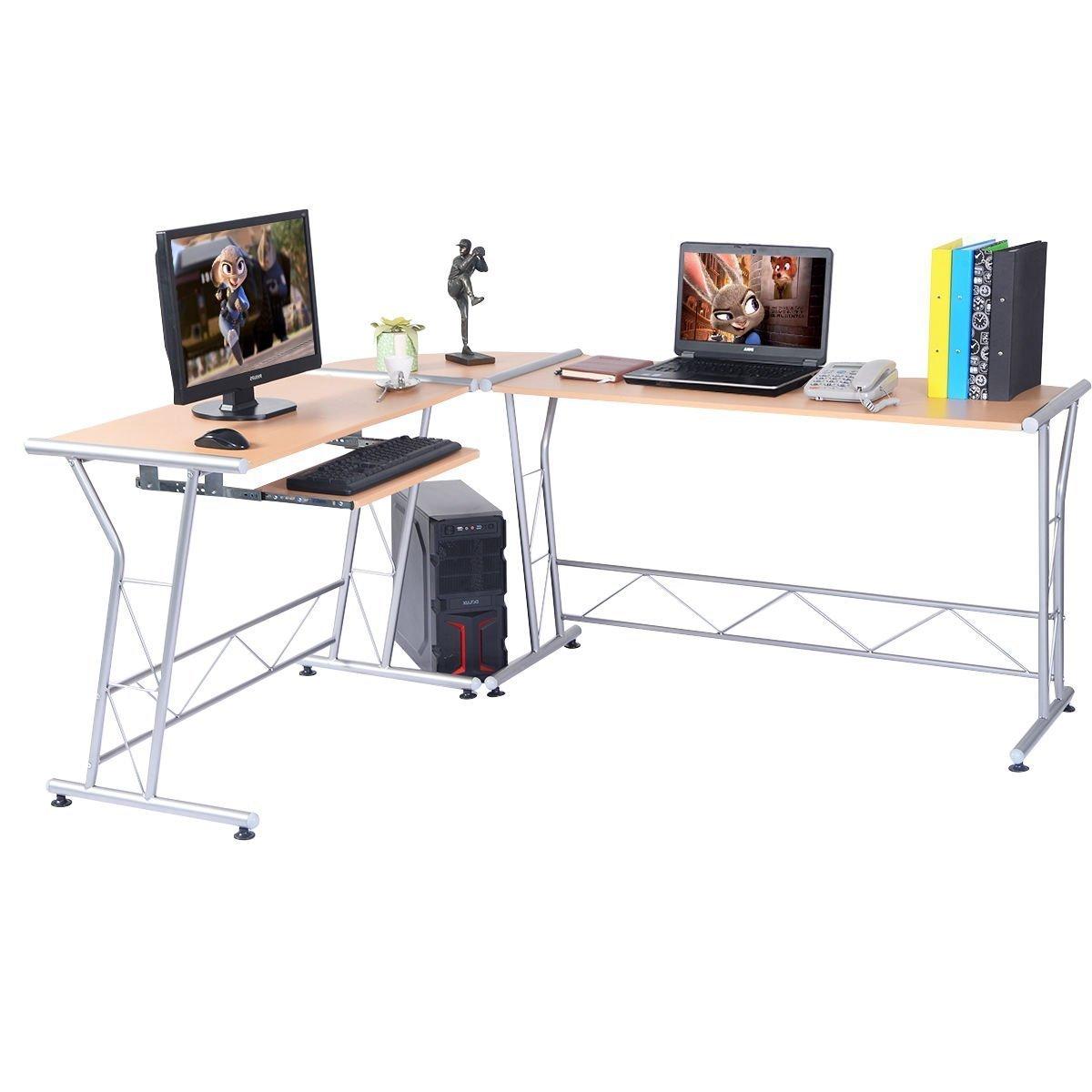 amazoncom tangkula lshape computer writing work study table workstation wood home office furniture kitchen u0026 dining