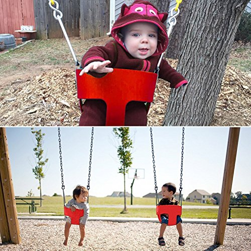 - Cheesea Toddler's Swing Seat with Coated Chains High Back Full Bucket Infant Swinging Set Ideal Kids Outdoor Toy (Red)