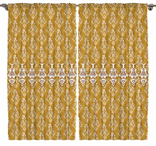 Victorian Style Damask Tassel Pattern Bedroom Living Dining Room Curtain Panels 2 Panels Set (Gold, 108Wx84L)