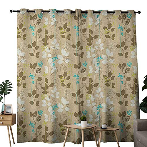 (NUOMANAN Bedroom Curtains Autumn,Retro Fall Leaves Earth Tones Foliage Field Gardening Yard Cottage Pattern, Army Green Tan Blue,Thermal Insulated Room Darkening Window Shade)
