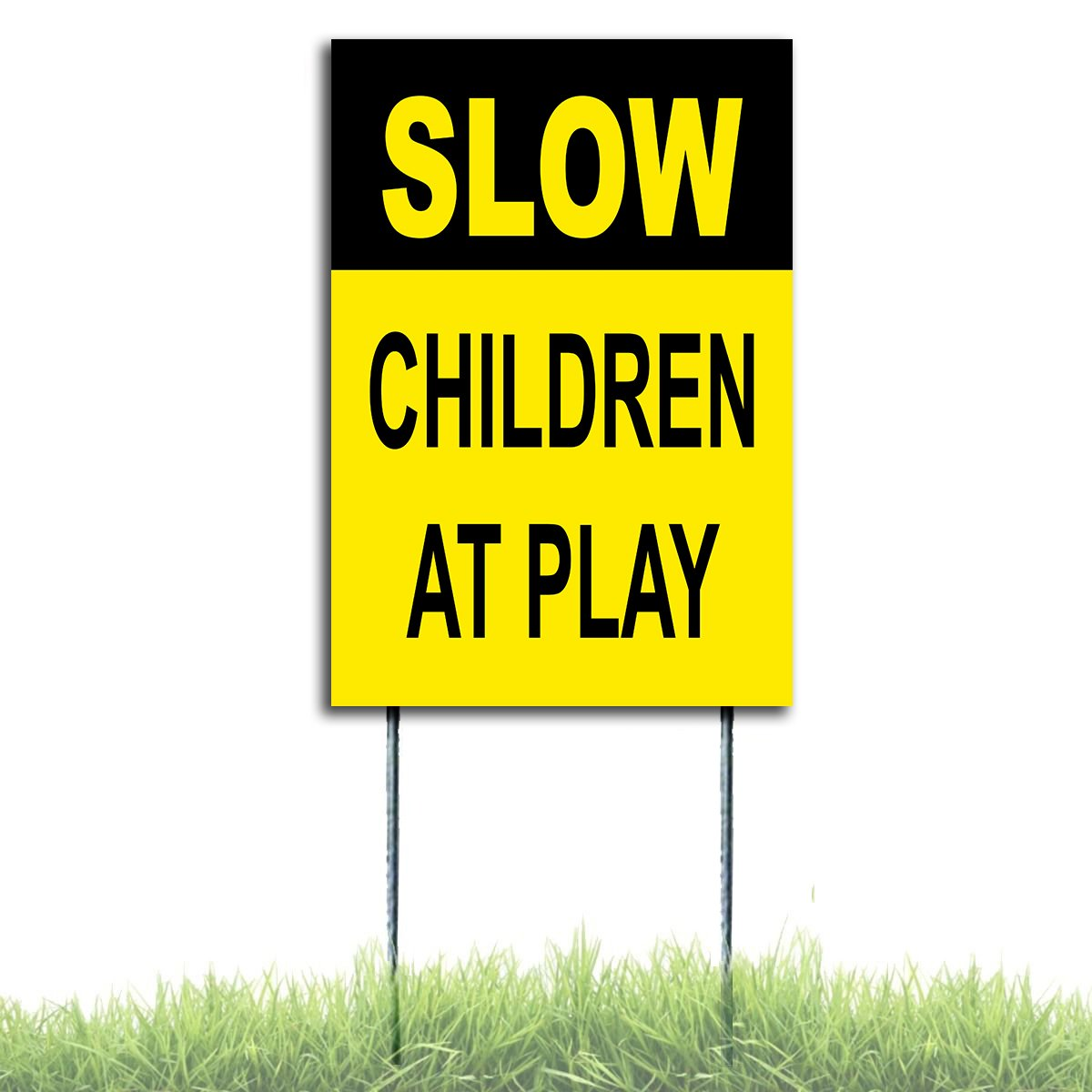 Children At Play Yard Safety Traffic Sign Coroplast Plastic 8x12 Stake Free Stake Slow