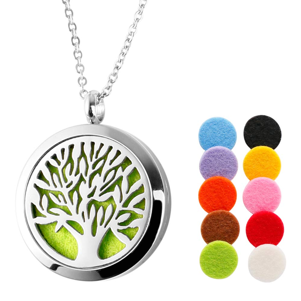 Aromatherapy Essential Oil Diffuser Necklace Tree of Life 30mm Locket Pendant Stainless Steel Jewelry with 24 Adjustable Snake Chain TTstar UMNK05