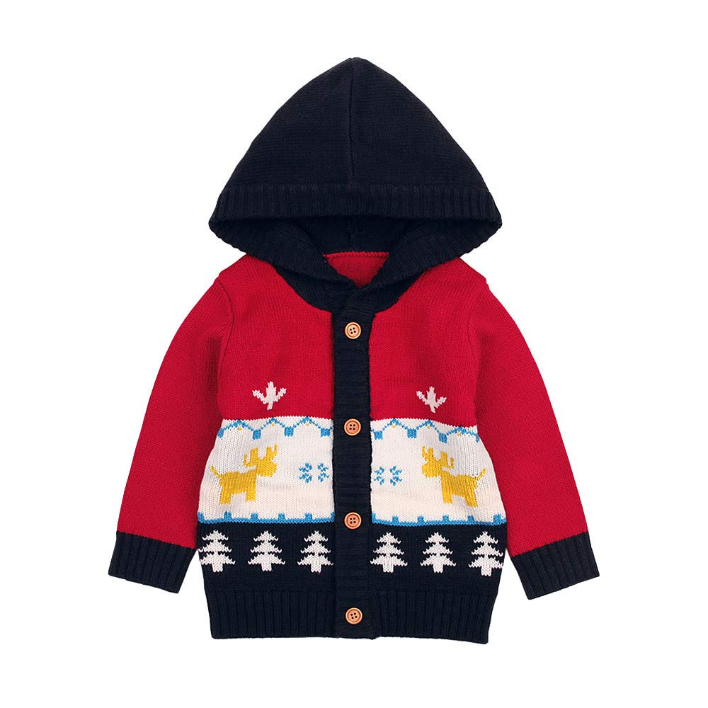 Staron Newborn Hoodie Sweater Tops Baby Boy Girls Winter Knitted Hooded Top Outfits