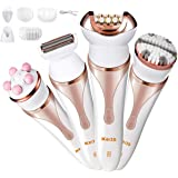 Epilator for Women,LCP 4 in 1 Rechargeable Wet and Dry Hair Remover Kit with Hair Epilator,Lady Shaver,Body Exfoliation Brush and Body Massager,Cordless Bikini Trimmer Electric Razor for Women