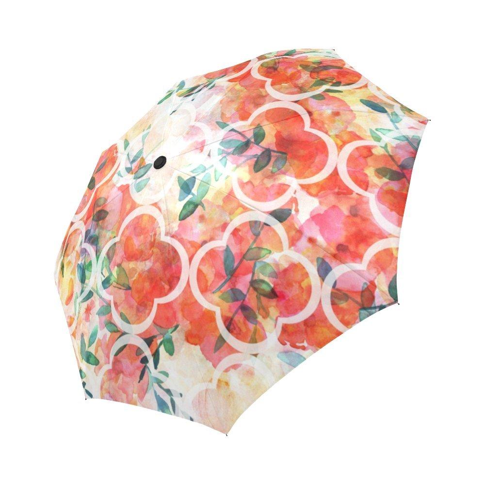 interestprintひまわり防風自動開いて閉じ折りたたみ式傘、ガーリー花柄旅行コンパクト壊れない雨とSun傘 Y00001-K B0798GZ53S Quatrefoil Flowers