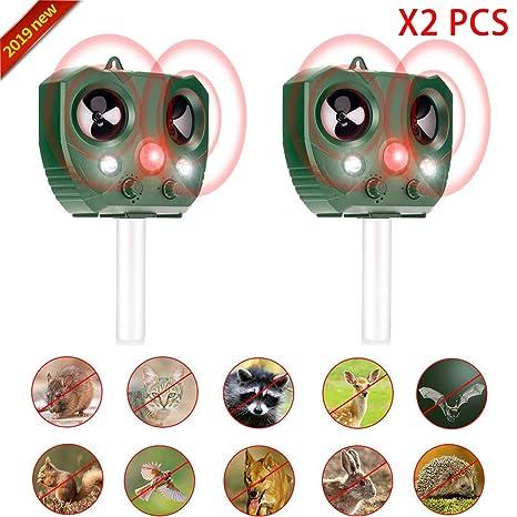 Repelente para gatos,Repelente Ultrasónico para Animales,con LED,Carga solar,ristente al agua, Sensor de Movimiento y Luz Intermitente Detector de ...