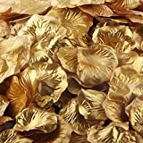 LEFV™ 1000pcs Silk Rose Petals Artificial Flower Wedding Party Vase Decor Bridal Shower Favor Centerpieces Confetti Decorations (40 Colors for Choice)- Golden