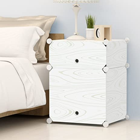 Amazon.com: KOUSI Portable Plastic Nightstand End Table DIY Storage ...
