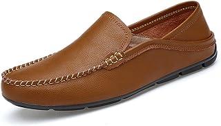 DuoShengZhTG Casual Respirant Chaussures pour Hommes Drive Mocassins Chaussures en Cuir Véritable Fond Doux pour Prévenir Les Odeurs Une Pédale De Pied Personne Paresseuse Bateau Mocassins Chaussures