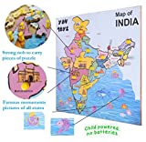 YDV WOODEN Educational toys wooden Indian map puzzles with multi-color sticker images of most famous monuments in all states 14 pieces for boys and girls best gift for your kids