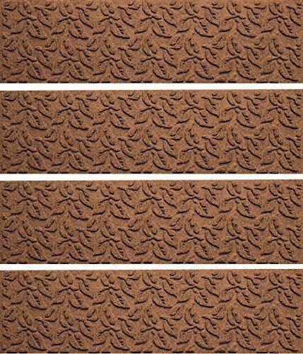 Bungalow Flooring Aqua Shield Dogwood Leaf Stair Treads, Set of 4, Dark Brown Dogwood Leaves