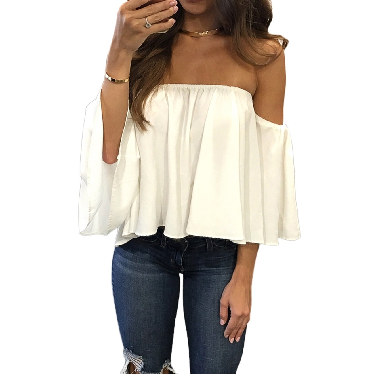 zdzdy Women Short Sleeve Off Shoulder Blouse Casual Pleated Ruffle Blouse Top Shirt(L,White)
