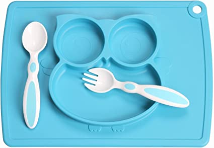Baby Kids Feeding Utensils Mat Suction Table Food Tray Spoon Plate Bowl Dish NEW