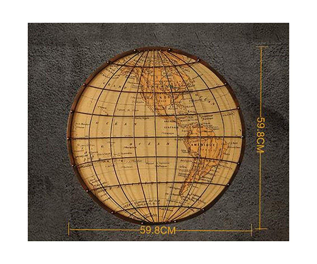 YANG Wall Decorations/Loft World Map Hanging Painting Iron Retro Style Decorative Pendant Industrial Style,1#