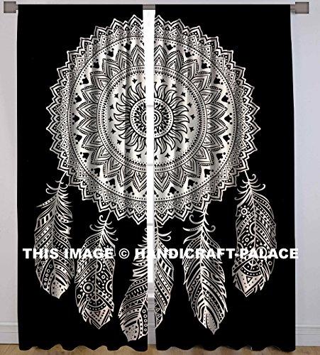 HANDICRAFT-PALACE Dream Catcher Mandala Window Curtains Drape Door Hanging Balcony Indian Cotton Curtain Set Decor