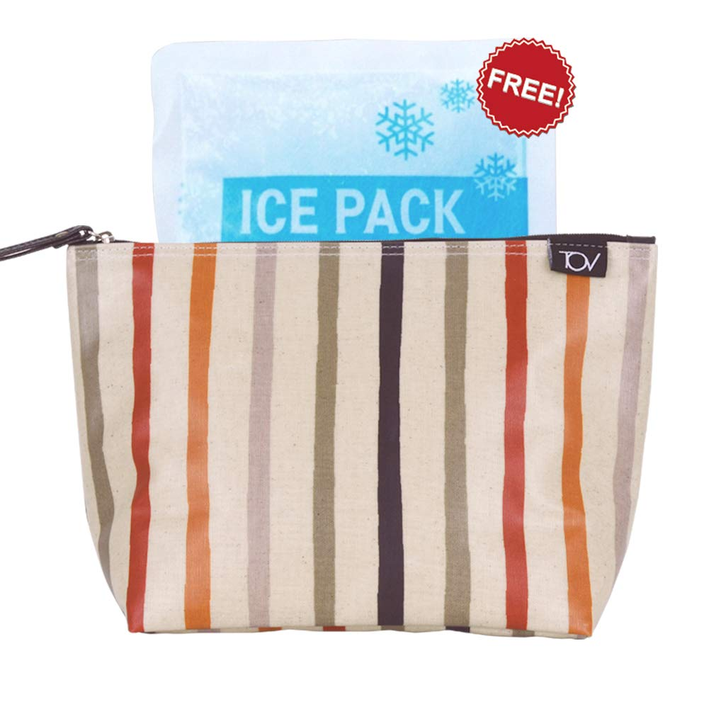 Insulated Reusable Eco Snack bag, Sandwich bag, Food Pouch, Insulated Lunch Bag, Insulin Cooling Case, golf pouch, Waterproof, Work, Picnics, Travel, Men, Woman,(Stripe, Medium)