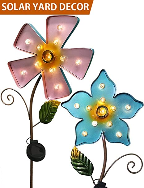 Bright Zeal Set Of 2 10u0026quot; Large METAL Flower LED Solar Lights Outdoor Patio  Lights