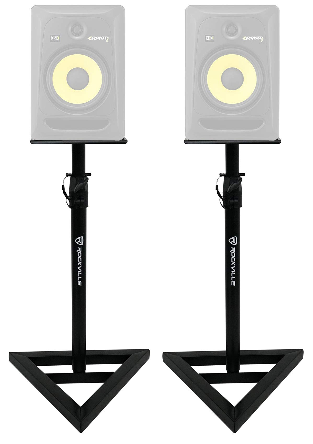 2 Rockville Adjustable Studio Monitor Speaker Stands For KRK ROKIT 8 G3 Monitors by Rockville