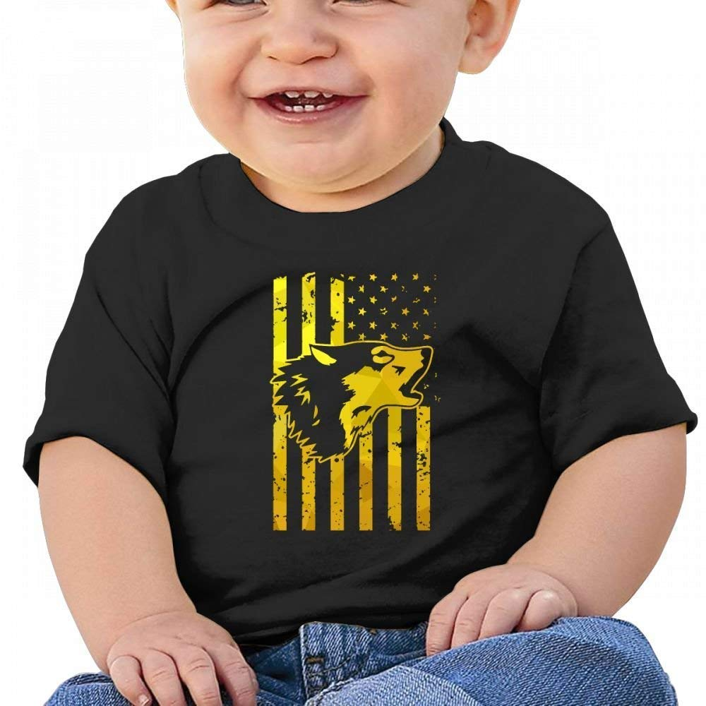 Golden Wolf US Flag Pride Baby Casual Round Neck Tee Shirts Short eeve T