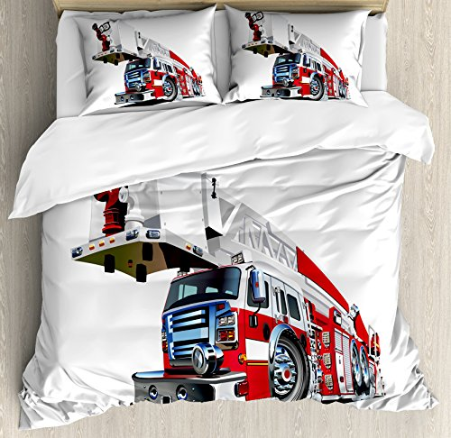 t Cover Set Queen Size, Firetruck Speeding to Danger Illustration Emergency Services Theme 911 Cartoon, Decorative 3 Piece Bedding Set with 2 Pillow Shams, Blue Grey Red ()