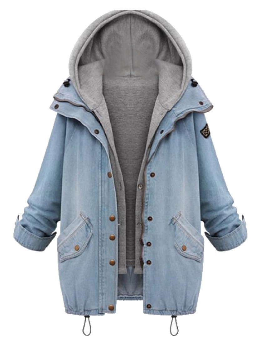 Tootless-Women Hood Plus Size 2 Piece Jean Button Jackets Coat Tops As Picture 5XL