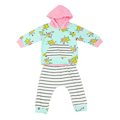 Alamana Flower Print Baby Girls Long Sleeve Hoodie Top + Stripe Pants Outfit Set