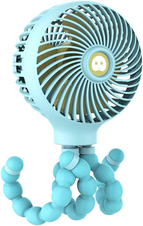 Mini Handheld Stroller Fan Personal Portable Baby Fan with Flexible Tripod Desk Fan Adjustable 3 Speeds USB Rechargeable Fan for Office Room Car Traveling BBQ Gym Fan