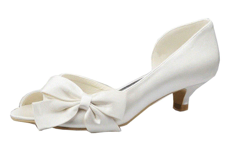 Qiusa Knoten-Peep  Toe Kätzchen-Ferse-Satin-Brauthochzeits-Sandelholz-Kleid-Schuhe der Mädchen-Frauen (Farbe  Knoten-Peep  Ivory-4.5cm Heel Größe   6.5 UK) d44941