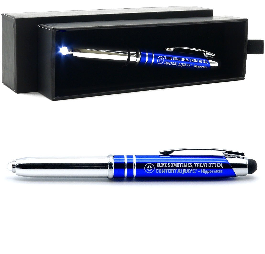 Nurse Gift Pen with LED Light and Stylus Tip -Cure Sometimes, Treat Often, Comfort Always. - Hippocrates Quote Engraved Gift Pen for Nurses, Paramedics, Medical Professionals and Students