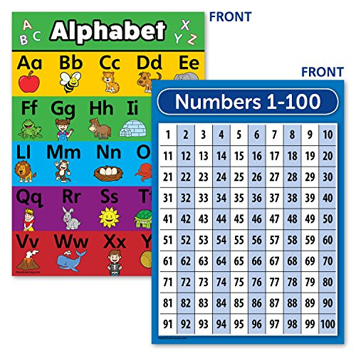 Laminated ABC Alphabet & Numbers 1-100 Poster Chart Set (18 x 24)]()