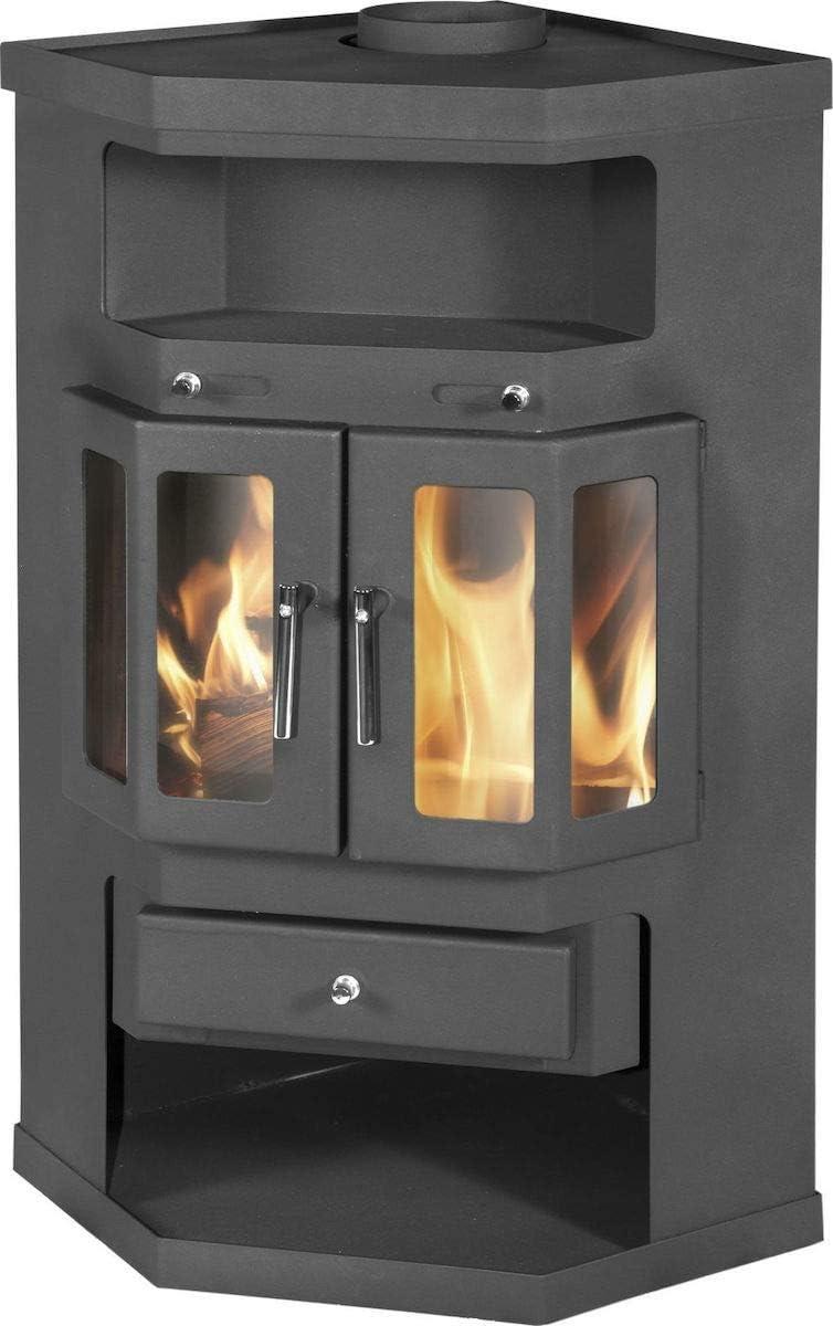 Estufa de leña esquinera modelo tronco quemador 9/14 kw potencia superior salida de chimenea 2 puertas
