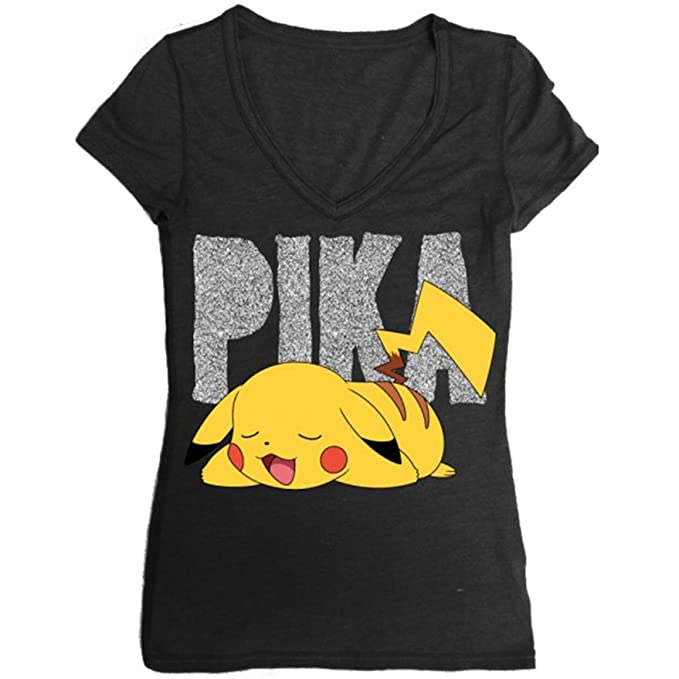 ba3e1d91 Amazon.com: Bioworld Pokemon Pikachu Juniors Black V-Neck T-Shirt ...